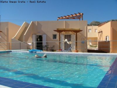2 bed bungalow with roof terrace pool for sale in Drapanos Crete